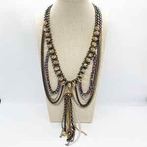 Beaded Mixed Metals Multi Layer Statement Necklace